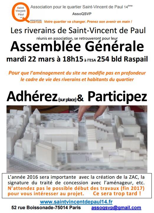 Assemblée Générale de l'Assocition pour le Quartier Saint-Vincent de Paul Paris 14
